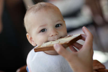 Toddler eating toast with butter in the restaurant Stock Photo - 15586213