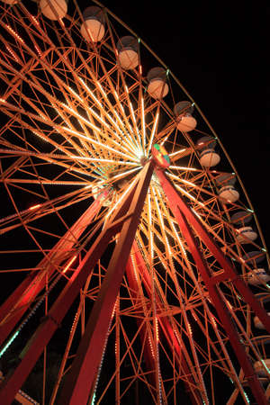 Luminous erris Wheel at night in Faliraki, Rhodes, Greece
