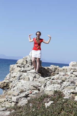 Portrait of teen on a cliff, Rhodes, Greece Stock Photo - 15847757