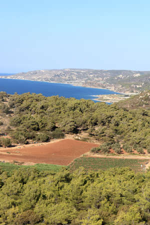 View coast of Rhodes in summer, Greece photo