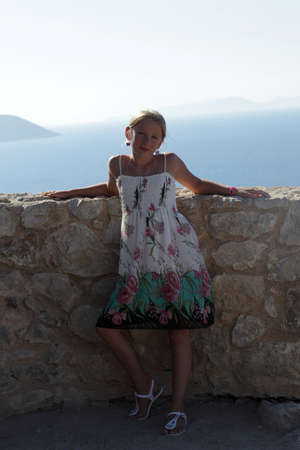 Child is posing in castle Monolithos, Rhodes, Greece Stock Photo - 15971743