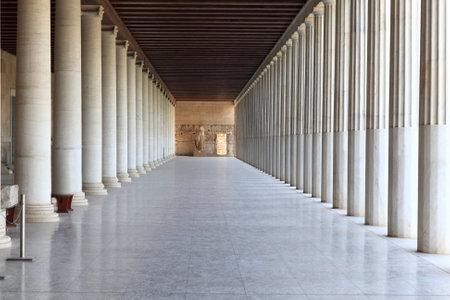 Column arcade of museum, Ancient Agora, Athens, Greece
