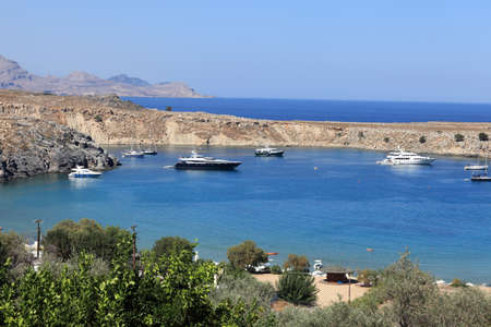 It is Lindos bay on Rhodes island, Greece Stock Photo - 16297895