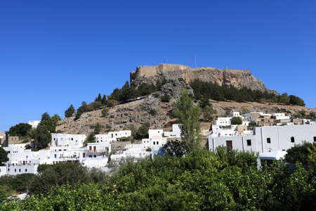 View of Lindos Acropolis on Rhodes island, Greece photo