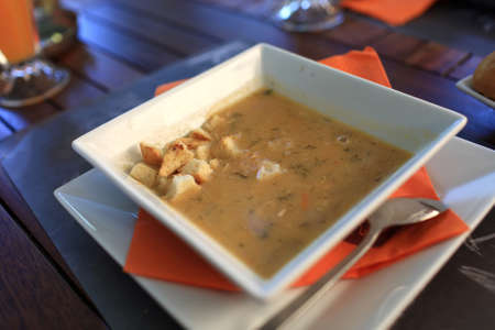 It is fish soup in a greek taverna Stock Photo - 16469730