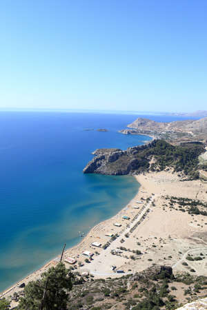 tsampika: Landscape of Tsampika beach, Rhodes island, Greece