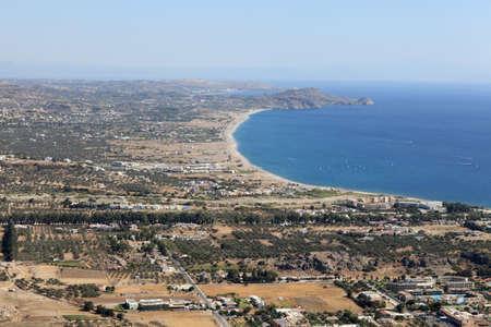 tsampika: Skyline of kolimbia village, Rhodes island, Greece