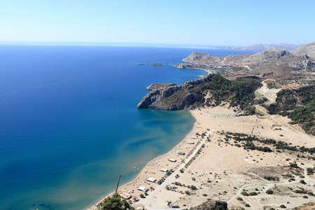 tsampika: Skyline of Tsampika beach, Rhodes island, Greece Stock Photo