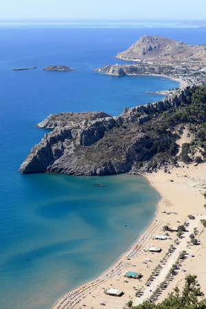 tsampika: View of Tsampika beach, Rhodes island, Greece