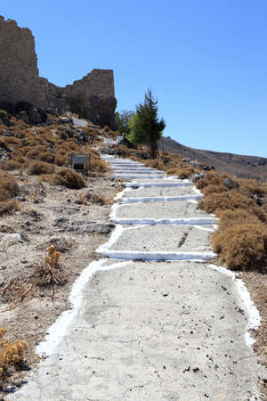 Road to Castle of Saint John in Archangelos village, Rhodes, Greece