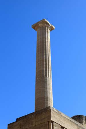 Column at Lindos Acropolis, Rhodes island, Greece photo