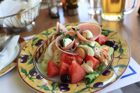 greek chef: The chef salad in a greek restaurant Stock Photo