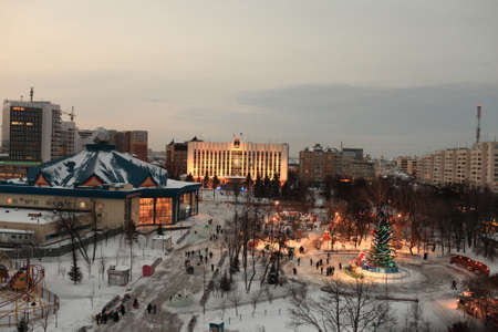 Skyline of Tyumen at night in winter, Siberia, Russia Stock Photo - 17465542
