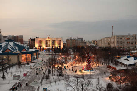 View of Tyumen at night in winter, Siberia, Russia