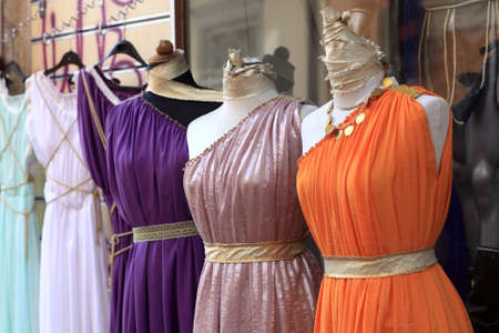The tunics are at a greek market photo