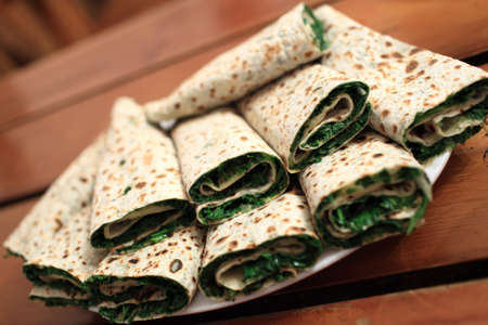 Zhingalov Khats dish  It is a flat bread with a variety of fresh herbs from Nagorno-Karabakh Stock Photo - 17833173