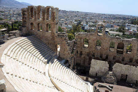 Ancient Odeon of Herodes Atticus is located on the south slope of the Acropolis of Athens, Greece photo