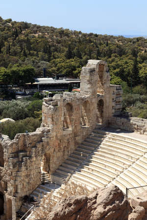 Details of ancient Odeon of Herodes Atticus is located on the south slope of the Acropolis of Athens, Greece photo