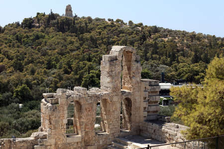 Details of wall of Odeon of Herodes Atticus is located on the south slope of the Acropolis of Athens, Greece photo