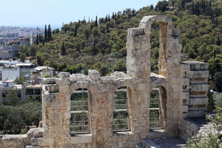 Element of wall of Odeon of Herodes Atticus is located on the south slope of the Acropolis of Athens, Greece photo