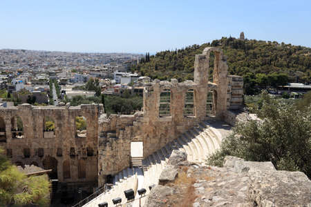 Fragment of Odeon of Herodes Atticus is located on the south slope of the Acropolis of Athens, Greece photo