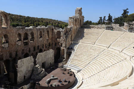 Odeon theatre of Herodes Atticus is located on the south slope of the Acropolis of Athens, Greece photo