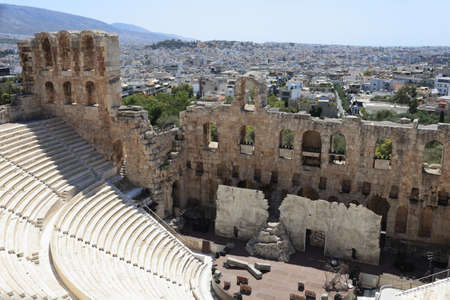 Part of Odeon of Herodes Atticus is located on the south slope of the Acropolis of Athens, Greece photo