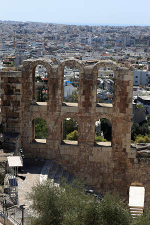 Part of wall of Odeon of Herodes Atticus is located on the south slope of the Acropolis of Athens, Greece photo