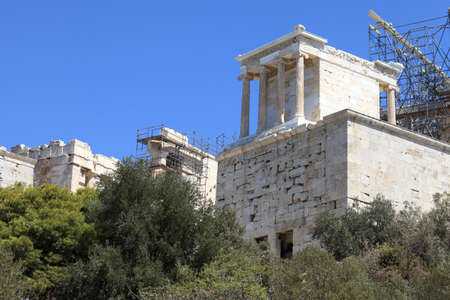 The Athens Acropolis propylaea in summer, Greece photo