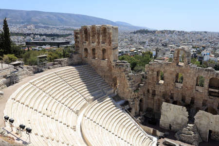 Landscape of Odeon of Herodes Atticus is located on the south slope of the Acropolis of Athens, Greece photo