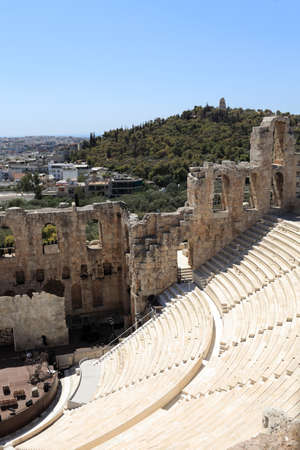 Wall of ancient Odeon of Herodes Atticus is located on the south slope of the Acropolis of Athens, Greece photo