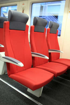 Interior of empty train in the morning