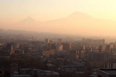 View of Ararat mount and Yerevan in the morning, Armenia photo
