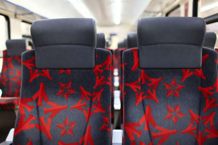 The details of seats of the train photo