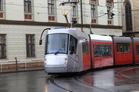 The tram on the street of Prague