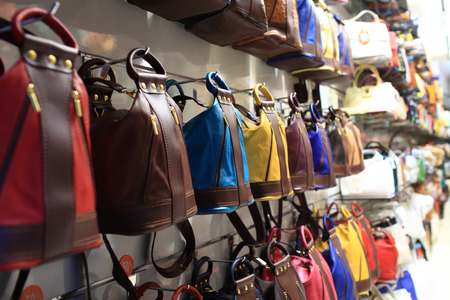Designer handbags in the shop on a street of Prague Фото со стока