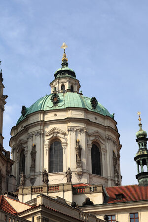 st nicholas cathedral: Dome of church of St  Nicholas in Prague, Czech republic Stock Photo