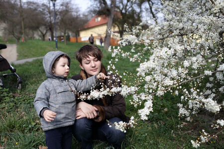 Portrait of family in a spring park photo