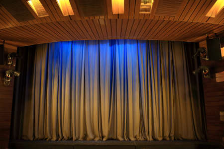Details of brown curtains in the theater