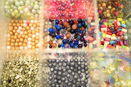 View of beads in the glasses boxes