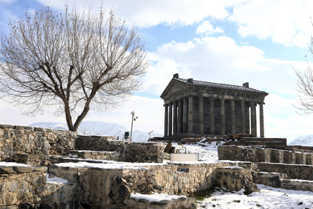 Temple of Garni building in Armenia in winter