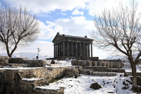 Landscape Temple of Garni in winter, Armenia Stock Photo