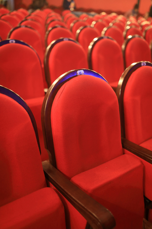 View of row red chairs in cinema