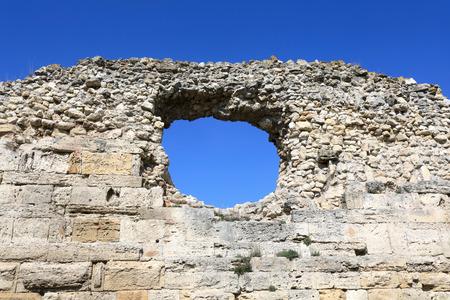 Fortress wall of Chersonesos in Crimea, Sevastopol