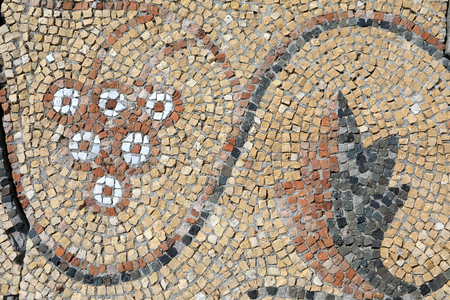 Details of antique floor mosaic with pattern of grapes in Chersonese Фото со стока