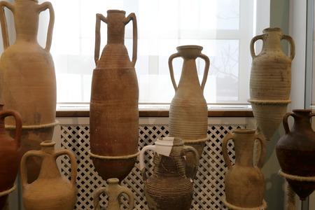 Details of Various Antique Clay Jugs indoor