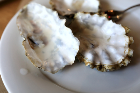 Oyster leftovers on plate in a restaurant