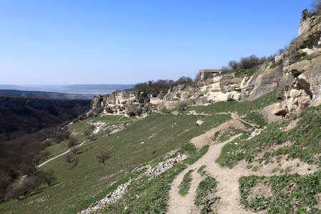 Landscape of Chufut-Kale fortress in Crimean Mountains