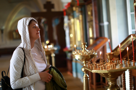 Portrait of woman in orthodox church, Russia Stock fotó