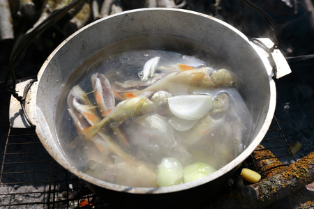 Cooking fish soup in pot on fire
